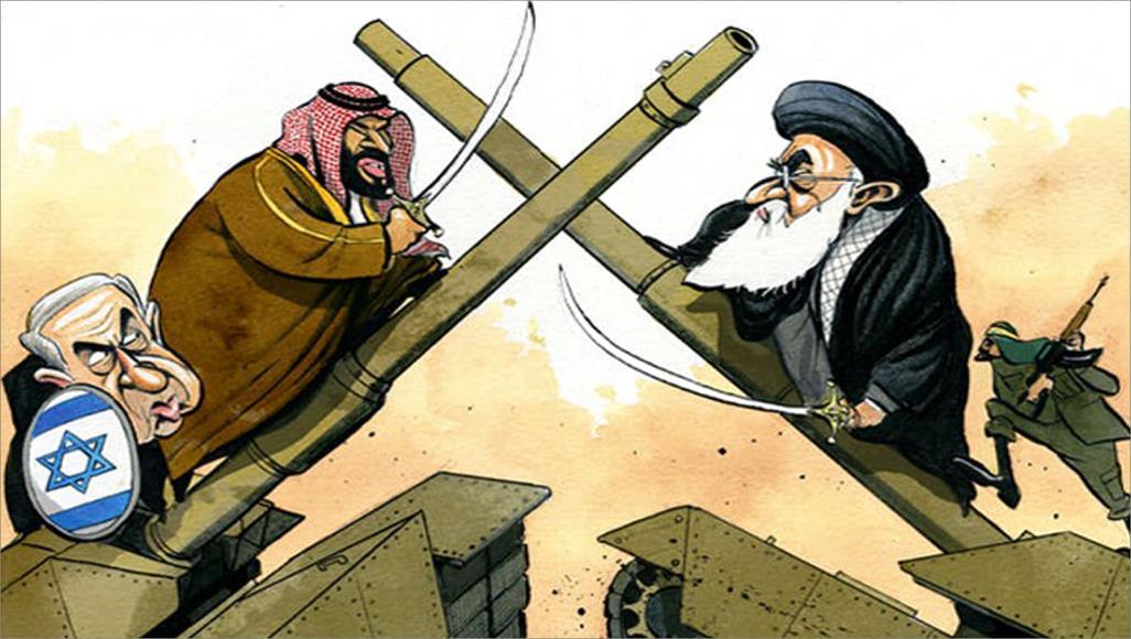 قرقاش ينشر كاريكتورا يظهر ابن سلمان يحارب إيران دفاعا عن إسرائيل