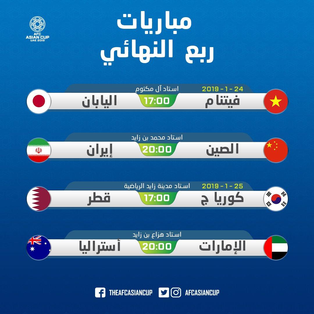المنتخبات المتأهلة للدور ربع النهائي لكأس آسيا وجدول المباريات