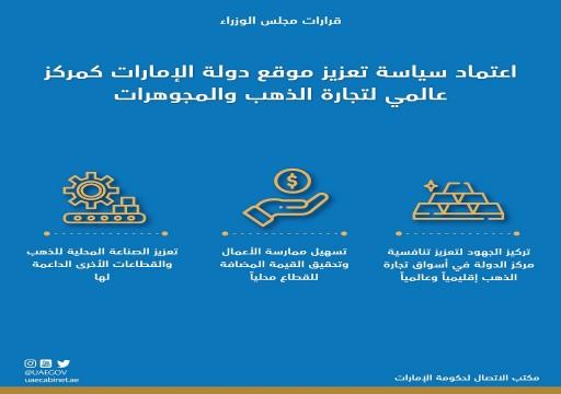 مجلس الوزراء يعتمد سياسة تعزيز تنافسية الدولة كمركز عالمي لتجارة الذهب