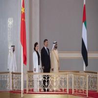 محمد بن راشد يستقبل الرئيس الصيني وقرينته في أبوظبي
