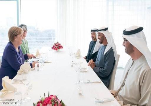 محمد بن زايد يبحث مع ميركل جهود السلام في ليبيا