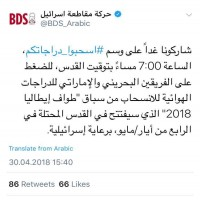 حركة مقاطة إسرائيل تدعو لانسحاب الإمارات من سباق دراجات في القدس المحتلة