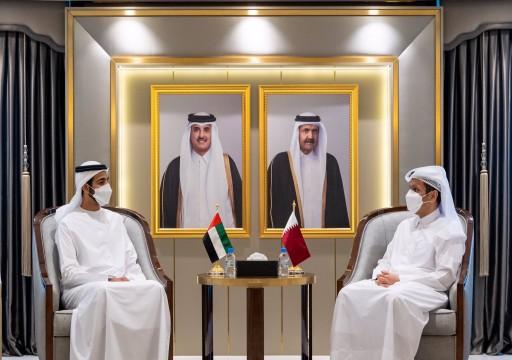شخبوط آل نهيان يلتقي وزير الخارجية القطري في الدوحة