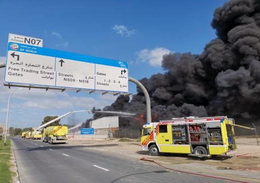دبي.. حريق هائل في أحد مصانع ميناء جبل علي