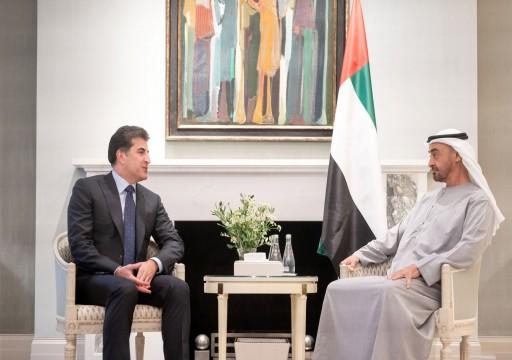 محمد بن زايد يجري مباحثات مع رئيس إقليم كردستان العراق