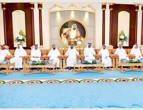 محمد بن راشد يستقبل حكام الإمارات وأولياء العهود