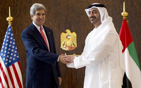 عبدالله بن زايد و وزيرا خارجية السعودية والأردن يجتمعون مع جون كيري