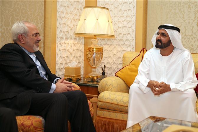 محمد بن راشد يستقبل وزير الخارجية الايراني