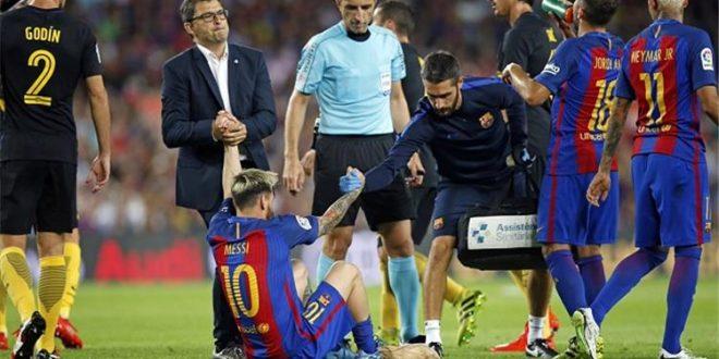 ميسي يغيب عن تشكيلة برشلونة ثلاثة أسابيع للإصابة