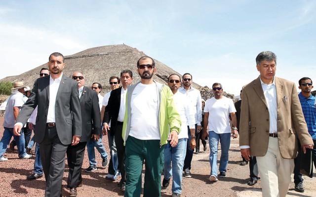 محمد بن راشد يزور مدينة تيوتيواكان الأثرية المكسيكية