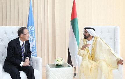 محمد بن راشد يستقبل الأمين العام للأمم المتحدة