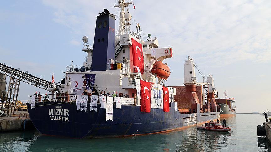 سفينة مساعدات تركية تنطلق إلى اليمن من ميناء مرسين