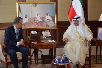 بان كي مون في الكويت لبحث العديد من القضايا