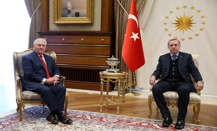 أردوغان يبحث مع وزير الخارجية الأمريكي قضايا ثنائية واقليمية
