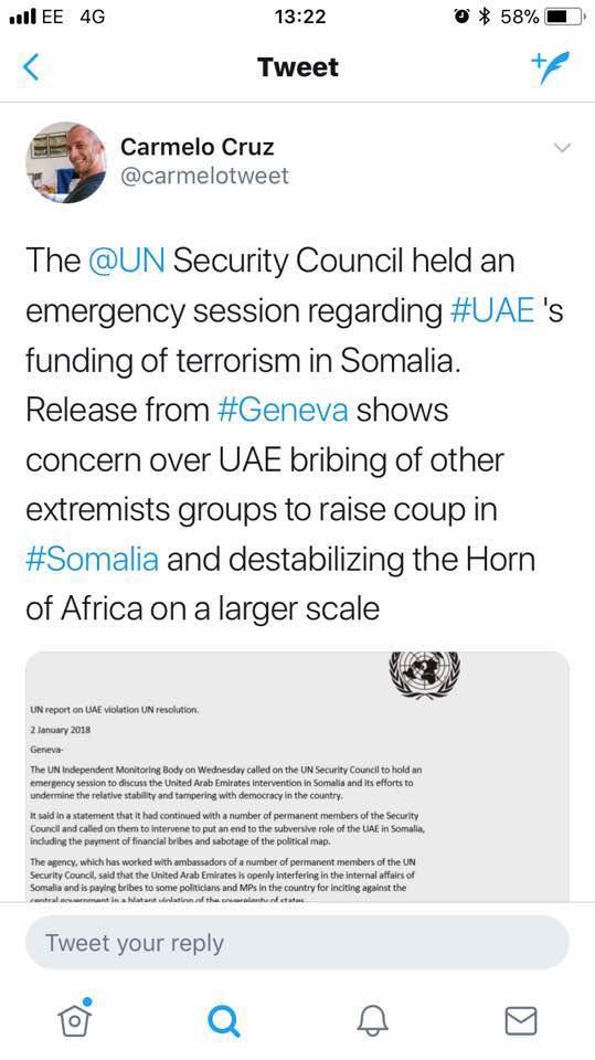 مجلس الأمن الدولي يناقش مزاعم تمويل أبوظبي لانقلاب والإرهاب في الصومال