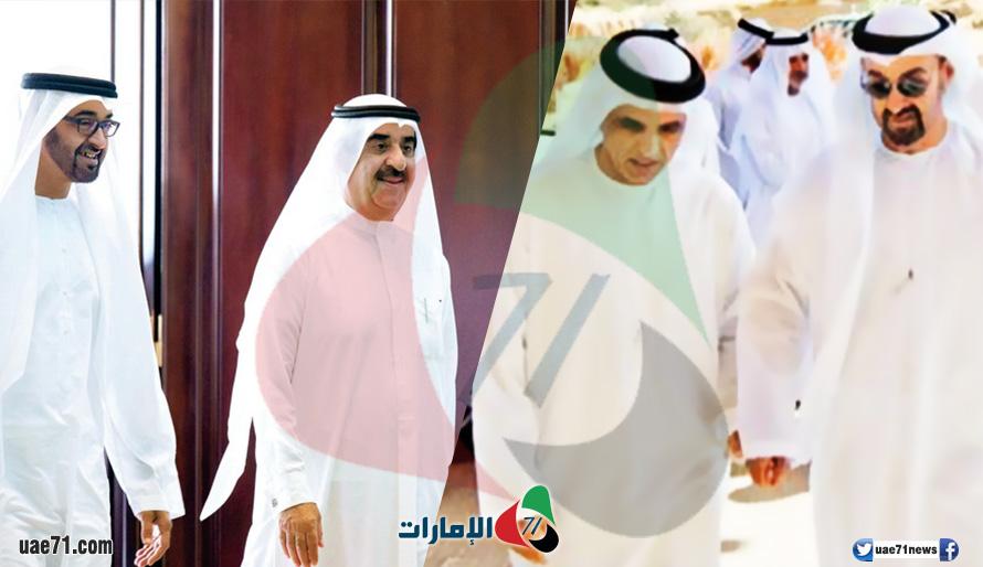 محمد بن زايد يستقبل سعود المعلا وسعود القاسمي