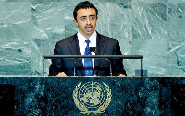 عبد الله بن زايد يدعو العالم لدعم الحكومة المصرية الحالية