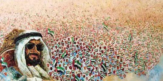 معرض لوحات فنية.. يوثق حكم ومسيرة الشيخ زايد بالرسم