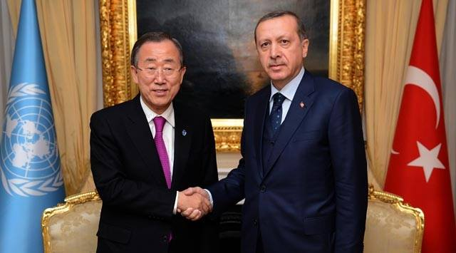 أردوغان يبحث مع بان كي مون منطقة حظر طيران في سوريا