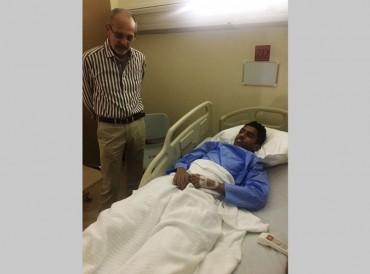 """تحسن صحة لاعب كلباء """"ياسر حسن"""" بعد تعرضه لحادث سير"""