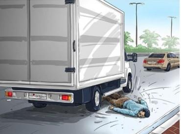 آسيوي يحاول الانتحار بإلقاء نفسه تحت عجلات شاحنة في أبوظبي
